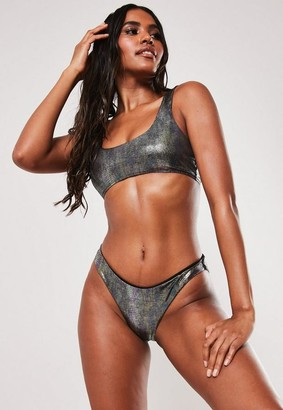 Missguided Black Metallic Snake Print Scoop Neck Bikini Top