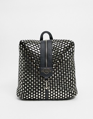 Love Moschino backpack in weave effect in metallic mix