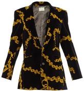 Aries Single-breasted Chain-print Velvet Blazer - Womens - Black Multi