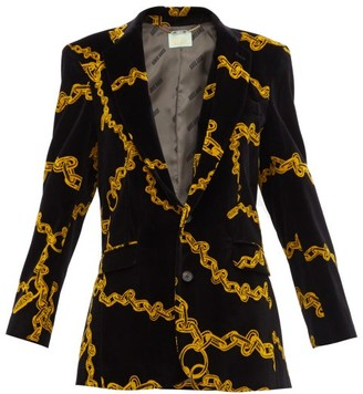 Aries Single-breasted Chain-print Velvet Blazer - Womens - Black Multi
