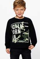 Boohoo Boys California Camo Sweat Top