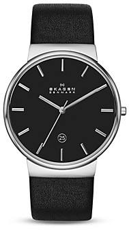 Skagen Ancher Leather Strap Watch, 40mm