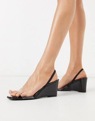 Who What Wear Thalia perspex mix wedges in black patent