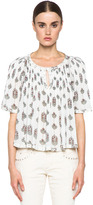Isabel Marant Berit Striped Paisley Cotton Top in Cherry