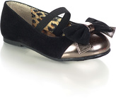 Jelly Beans Black & Gold Bow Saroya Flat - Infant & Toddler