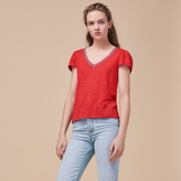 Maje Linen T-shirt with gathered sleeves