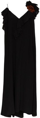 Victoria Beckham Ruffle Trim Midi Dress