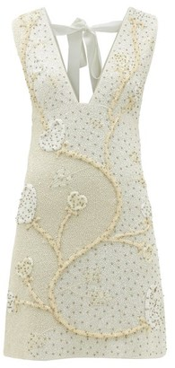 Ganni Tie-back Floral Beaded-crepe Mini Dress - Ivory