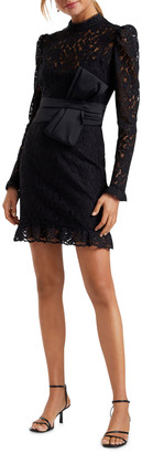 Ever New Mock Neck Long Sleeve Lace Mini Dress w/ Bow