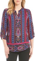 Investments Petites Y-Neck Roll Tab Printed Blouse