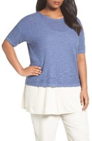Eileen Fisher Plus Size Women's Organic Linen & Cotton Short Sweater