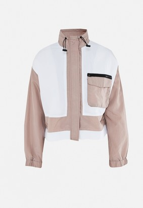 Missguided Mocha Co Ord Tonal Colourblock Windbreaker Jacket