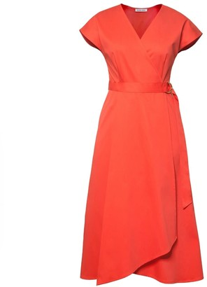 Diana Arno Adele Cotton Wrap Dress In Coral Red