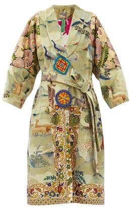 RIANNA + NINA Vintage Patchwork Belted Velvet Coat - Multi