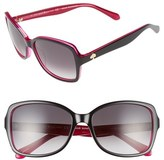 Kate Spade Women's 'Ayleens' 56Mm Sunglasses - Black/ Pink