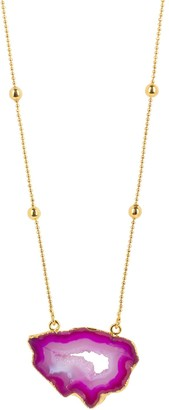 Yaa Yaa London Gold Vermeil Magenta Pink 'My First Love' Crystal Gemstone Necklace
