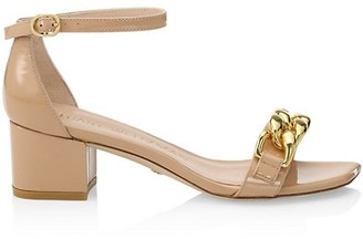 Stuart Weitzman Amelina Chain Block-Heel Leather Sandals