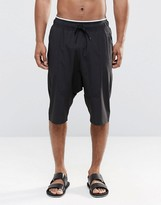 Asos Drop Crotch Swim Shorts In Black With Double Waistband