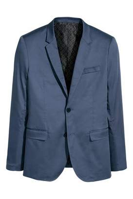 H&M Satin Blazer Skinny fit - Dark blue - Men