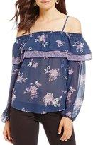 Jolt Floral Printed Cold Shoulder Ruffle Top