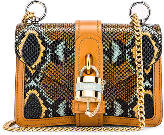Chloé Mini Aby Chain Embossed Python Shoulder Bag in Faded Blue | FWRD