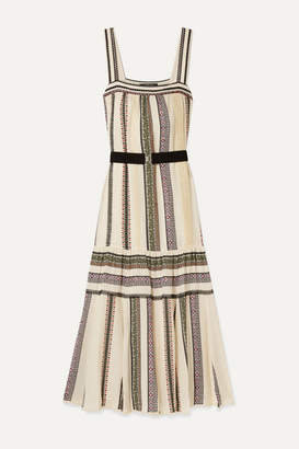Derek Lam Belted Lace-trimmed Printed Silk-crepe Maxi Dress - Ecru