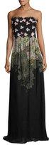 Giambattista Valli Strapless Embroidered Lace Gown, Black