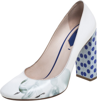 Fendi White Floral Print Leather Polka Dots Block Heels Pumps Size 39