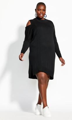 City Chic Shoulder Cut Out Knit Dress - black