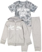 Silly Souls Greatness Starts Here Kids Boy Cotton Sweat Suit and Tee Cotton 4T