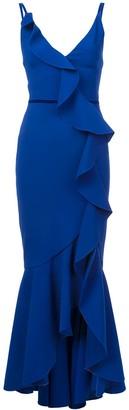 Marchesa V-neck crepe gown