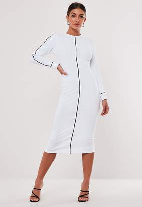 Missguided Tall White High Neck Rib Piped Midi Dress