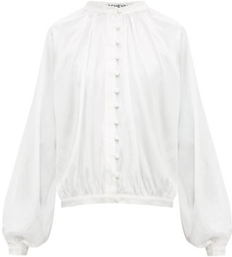 ÀCHEVAL PAMPA Gloria Silk-blend Satin Blouse - Womens - White