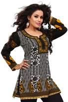 Maple Clothing India Tunic Top Kurti Womens Printed Blouse Indian Apparel (Black, M)