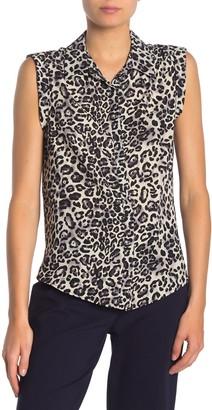 Pleione Sleeveless Shirred Shoulder Leopard Print Top