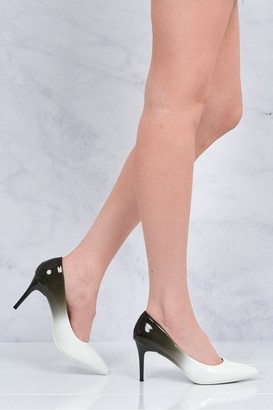 Miss Diva Alani 2 tone medium heel court shoe in White