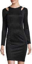 Neiman Marcus Cutout Shoulder Sheath Dress, Black