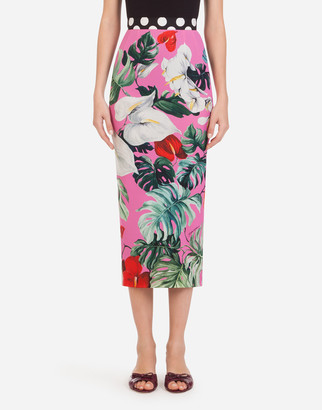 Dolce & Gabbana Longuette Tube Skirt In Charmeuse With Laceleaf Print