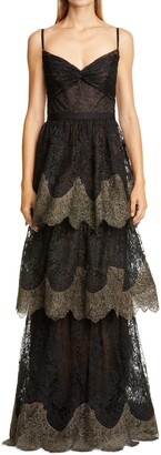 Marchesa Notte Sleeveless Scalloped Lace Gown