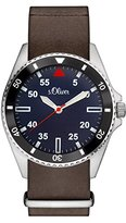 S'Oliver men's Quartz Watch Analogue Display and Leather Strap SO-3129-LQ