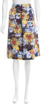 Suno Silk-Blend Floral Printed Skirt
