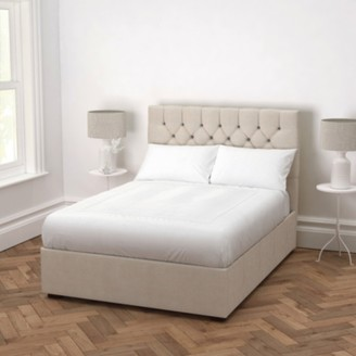 The White Company Richmond Linen Union Bed - Headboard Height 130cm, Natural Linen Union, Double
