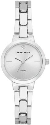 Anne Klein Womens Silvertone Diamond Mixed Texture Bracelet Watch