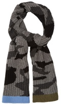 Valentino Camouflage-print Ribbed-knit Scarf