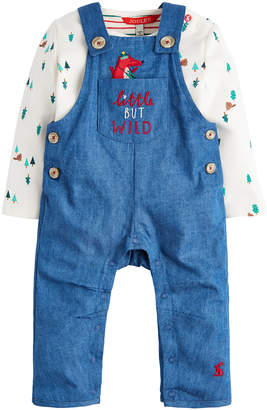 Joules Girls' Overalls CHAMFOX - Chambray 'Little But Wild' Fox Dungarees & Long-Sleeve Top - Newborn & Infant