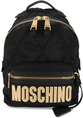 Moschino embroidered logo quilted backpack