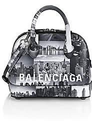 Balenciaga Women's Extra Extra-Small Ville New York Skyline Top Handle Leather Bag