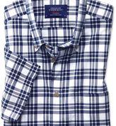 Charles Tyrwhitt Classic fit button-down poplin short sleeve navy blue check shirt
