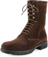 Aquatalia Hayden Suede Lace-Up Ankle Boot, Dark Brown