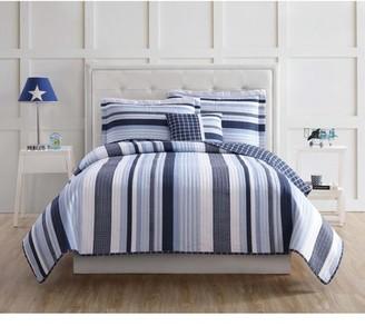 My World Mason Stripe Full Quilt Set with BONUS Decorative Pillow
